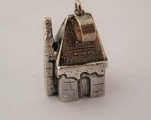 Tiny House pendant neckace, Folly house with barley twist chimney sterling silver, Fairytale House, tiny windows, ' Little House' pendant