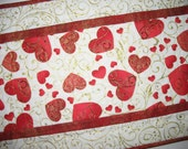 Heart Table Runner small  Hearts, Love and Swirls in red. quilted, fabric from Hoffman