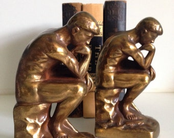 Pair Antique G.H. INC NYC 1928 Bronze Bookends -Thinking Man