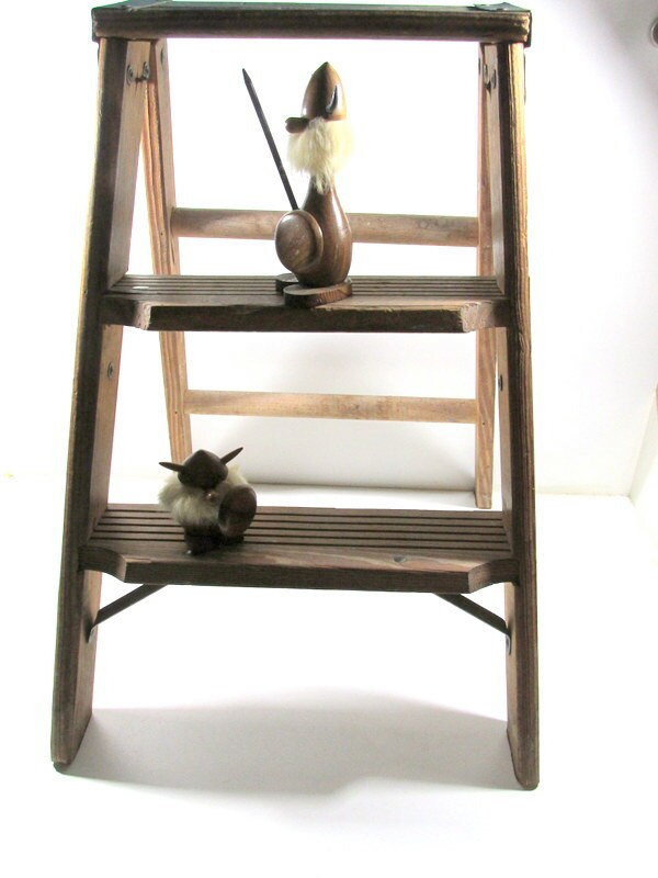 Vintage Folding Wood Step Ladder Kitchen Stool Rustic