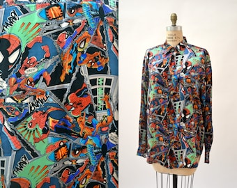 90s SPIDERMAN COMIC Nicole Miller Silk Shirt Size MEDIUM Large