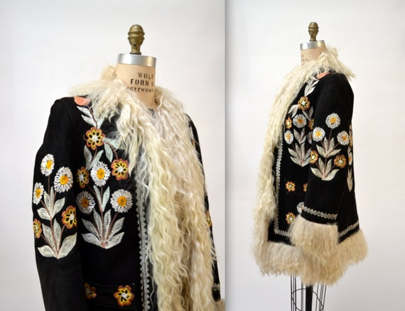 Vintage Embroidered Shearling Afghan Jacket Coat Medium// 70s