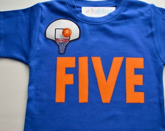 Boys 5th Birthday Shirt, Basketball Birthday Party, Bball Five Shirt, Orange and Blue, Size 6, Applique Basketball Hoop Tshirt Ready to Ship