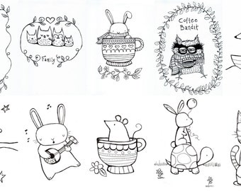 Mini Coloring Book Digital Download Cute Whimsical Animals Storybook Style Art Black and White Drawings