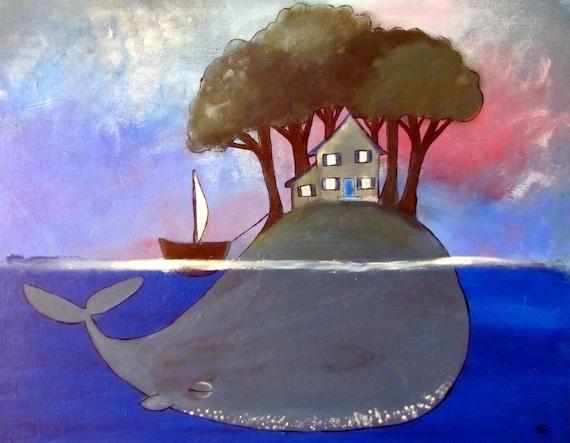 Surreal Whale Painting Whimsical Kids Art Print Wall Nursery