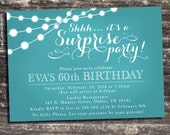 Adult Surprise Birthday Invites - Soft Teal Chalkboard - 30th, 40th, 50th, 60th Birthdays