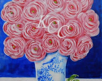 """Fine Art Print of my Original Painting-""""Pink Ranunculus in Blue and White"""""""