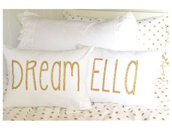 Customizable Throw Pillow with Insert -  with Gold or Silver Glitter Letters - DREAM, SPARKLE, or Customizable Name/Word