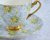 Shelley Tea Cup and Saucer  /  Pastel Primrose Chintz Teacup and Saucer   /  Vintage Floral Chintz Teacup Set