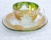 Arte Italica Gold Enamel Demitasse Tea Cup and Saucer Set  /  Vintage Enamel Glass Teacup and Saucer  /  Vintage Teacups  SwirlingOrange11