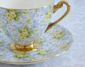 Shelley Tea Cup and Saucer  /  Pastel Primrose Chintz Teacup and Saucer   /  Vintage Floral Chintz Teacup Set