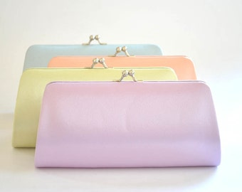 Set of 8 Satin Bridesmaid clutches / Wedding clutches - Custom Color