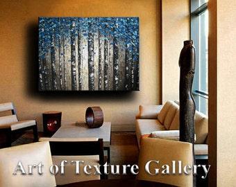 Huge 40 x 50 Custom Oil Impasto Painting Original Texture Modern Tree Birch Blue Silver Gray White Sculpture Knife Painting by Je Hlobik