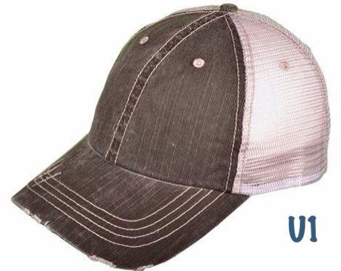 Distressed Trucker Baseball Cap, chemo cap, blank ball cap, craft supplies, mesh trucker cap, personalized cap, adjustable ladies hat
