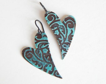 Heart Earrings Embossed Brass