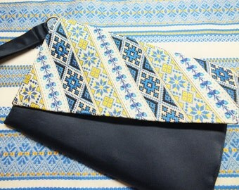 Folk Ukranian Cros-stitch clutch in yellow blue embroidered ribbons