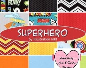 "Crib Bedding, Boy, Toddler Bedding, ""Superhero"" fabric Collection Robert Kaufman, Crib Skirt, Fitted Bottom Sheet, Fitted Top Sheet, Blanket"