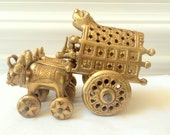 Brass Asian Chinese Oxen Pulling Cart
