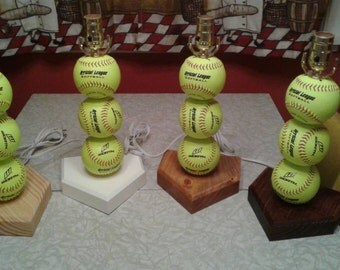 Softball Lamp.  Made with real softballs.  Yellow balls.  The original and often imitated, but never duplicated.  Softball room