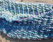 Blue Cowl, Big Mobius Scarf, Crocheted Cowl, Double-Wrap Cowl, Cyber Monday Sale, Figure-Flattering Cowl, One Size Fits All, Big Cowl