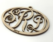 Laser Cut Birch Wood Monogram Ornament