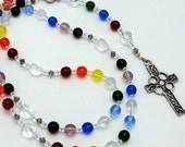Roman Catholic Rosary: Czech Druk Rainbow Glass Beads with Pewter Celtic Cross