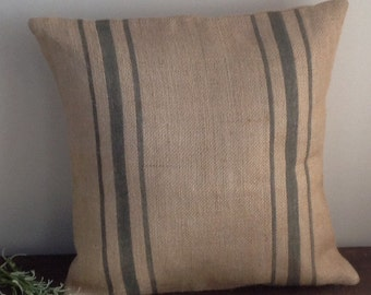Burlap Grain Sack Pillow Cover, Vintage Gray Striped Rustic Burlap Farmhouse Home Decor
