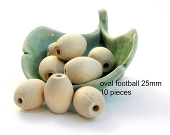 Oval  Natural Wooden Beads - football egg - 25 x 20mm - 10 pieces