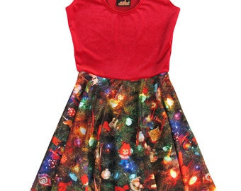 Christmas Tree and Velvet Flare Dress