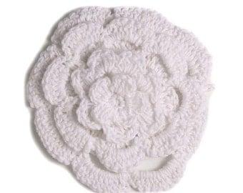 """3"""" Four Level White Crochet Flower"""