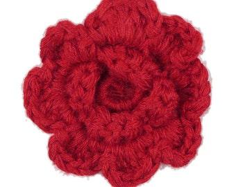 Red Crochet Clip Flower