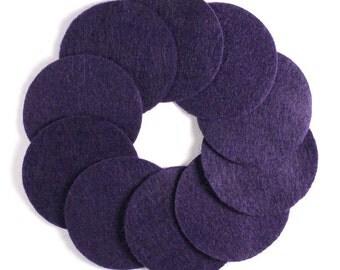 "2 1/2"" Purple NON Adhesive Felt Circles 10 Pack"