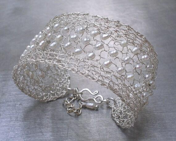 Freshwater Pearl Bracelet Cuff Knit Wire Crochet Jewelry