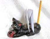 Kitten Black Cat Letter Holder Office Caddy Redware Pencil Holder Hand Painted 1950s 1960s