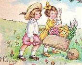 Easter Card, Antique Postcard, Children, Easter Bunny, Rabbit, Flowers, Postcards, Card, Unused