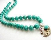 Turquoise Gemstone Statement Necklace, Sterling Silver Gemstone Pendant, Artisan Necklace, Semiprecious Stone