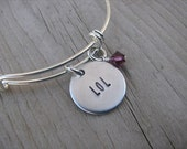 "Laugh Out Loud- Inspiration Bracelet- ""LOL"" with an accent bead in your choice of colors- Hand-Stamped Jewelry"