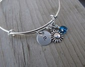 Flower Bangle Bracelet- Adjustable Bangle Bracelet with Hand-Stamped Initial, Small Flower Charm, and accent bead of choice