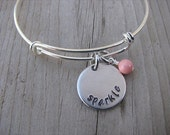 """Sparkle Inspiration Bracelet- """"sparkle"""" with an accent bead in your choice of colors- Hand-Stamped Bracelet"""