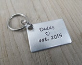 "Gift for Dad- Keychain- Expectant Father Gift- Baby Shower Gift- Father's Keychain ""Daddy est. (year of choice)""- Keychain"