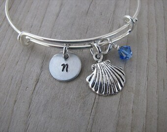 Beach Bangle Bracelet- Adjustable Bangle Bracelet with Hand-Stamped Initial, Seashell Charm, and accent bead