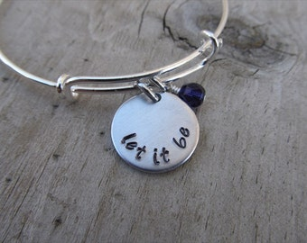 "Inspiration Bracelet- Hand-Stamped ""let it be"" Bracelet with an accent bead in your choice of colors"