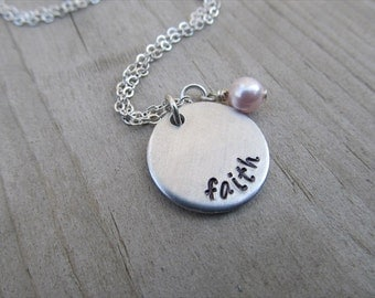 "Faith Inspiration Necklace ""faith""  with a birthstone or an accent bead in your choice of colors- Hand-Stamped Necklace"