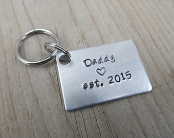 """Gift for Dad- Keychain- Expectant Father Gift- Baby Shower Gift- Father's Keychain """"Daddy est. (year of choice)""""- Keychain"""