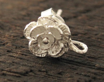 Sterling Silver Flower Posts  - Double Rose Earrings - Beautiful and Feminine 1 Pair E15