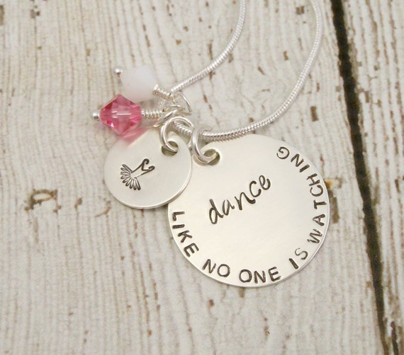 Personalized Dancers Necklace - Dance Like No One Is Watching - Hand Stamped Sterling