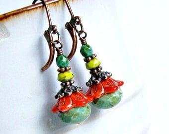 gypsy flowers drop earrings, colorful, floral, czech glass earrings, lever back, dangle
