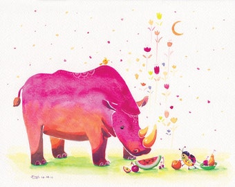 Watercolor Rhinoceros, Ladybird Print - First Watermelon - 8x10 - Kids Room Art, Cute Wall Art, Red Rhinoceros