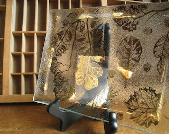 Mid Century Glass Tray with Gold Leaves by Gay Fad Glass Scatter Tray Hollywood Regency