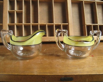 Glass Cream and Sugar Set  vintage yellow 1950s kitchen Creamer and sugar holders